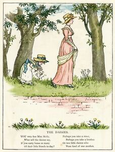 Mother and Daughter Walking 1885 Victorian Era Childrens Poetry color art print