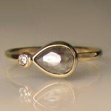 14k solid Gold ring natural rose cut diamond ring wedding ring pear ring DER415