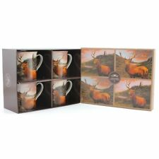 Set of 4 China Mugs British Wildlife Stag 2 Designs Gift Boxed Lp93096 HIGHLANDS