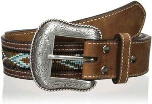 Nocona Belt Co. Mens Beaded Aztec Design Inlay Leather Belt