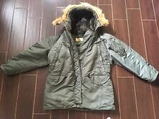 Jacket Flying Nylon Twill N3B Men's   Real Fur Trimmed Hood # Small /sage Green