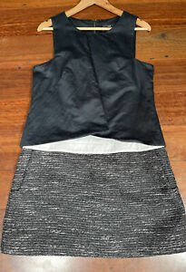 Cue black & white classy shift dress with pockets - size 12