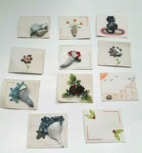 11 Vintage Handmade Folded Gift Tags with Seashells & Faux Flowers