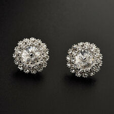 LOVELY 18K WHITE GOLD PLATED GENUINE CLEAR CUBIC ZIRCONIA ROUND STUD EARRINGS