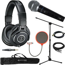 Audio-Technica M40x Professional Monitor Wired Headphone & Technical Pro Mic Kit