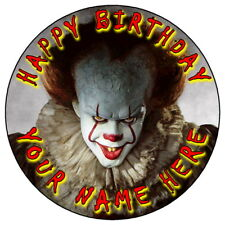 "IT PENNYWISE HALLOWEEN PARTY - 7.5"" PERSONALISED ROUND EDIBLE ICING CAKE TOPPER"