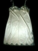 SHINY CREAM NYLON SATIN FULL SLIP OR NIGHTDRESS SIZE 12 CHARNOS