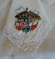 3 VINTAGE OLD HANDKERCHIEFS 2 WITH LACE HANKIES HANKYS EUROPEAN THEME EMBROIDERY