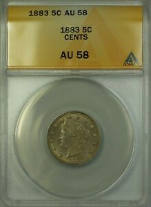 1883 V Nickel 5c Coin ANACS AU-58 with Cents