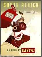 "qantas SOUTH AFRICA vintage travel art print canvas 24"" X 20"""