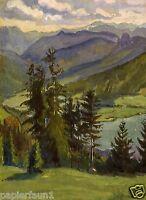 Blick von der Neureut auf Tegernsee Kunstdruck von 1924 Franz Anrhold Bayern See