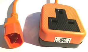 Power Extension Cable IEC C14 Plug to UK Mains Female Socket 13A Orange 0.3m