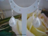 Ohrringe barocke echte Perlen Tropfen 11x14mm Weiß, 925er Silber Brisur