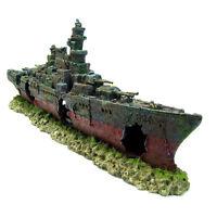 Warship Cave Aquarium Ornament 49cm- Battleship Ship Shipwreck Fish Tank Decor