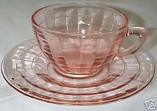 BLOCK OPTIC PINK CUP & SAUCER w/CUP RING!