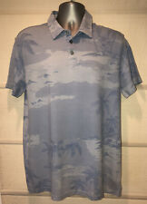 TORI RICHARD Blue Wash Tropical Island Scene Pique Polo Shirt~M~Only 1 One Ebay