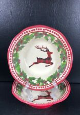 Cynthia Rowley Plaid Reindeer Set Of 2 Melamine Bowls Christmas
