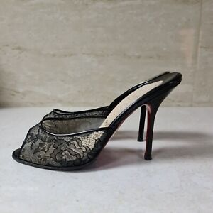 CHRISTIAN LOUBOUTIN  Black Patent Lace Slides Sz.38,5