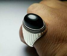 Yemeni Aqeeq Ring Mens Black Agate Ring Sterling Silver 925 Handmade Akik Ring