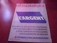 LE NOUVEL OBSERVATEUR N°1045 1984  L'ARGENT