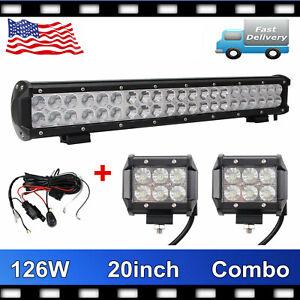 20inch 126W SPOT FLOOD LED Work Light Bar+2X 4''IN 18W Driving 12V24V+Wiring Kit