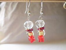 Glass Fashion Earrings Crystal Gold Foil Ruby Rhinestone Circlet Dangle Hook