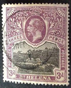 St Helena 1913 3d black & purple yellow stamp vfu