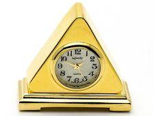 INFINITY: GOLD TONE TRIANGLE MANTEL STYLE  COLLECTABLE ANALOG QUARTZ MINI-CLOCK