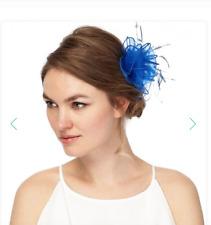 BLUE FEATHER ORGANZA HAIR CLIP/FASCINATOR, BN RRP £12, DEBUT WEDDING HAIR CLIP