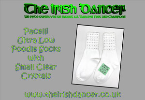 Pacelli Ultra Low Small Clear Diamonted Poodle Socks - Irish Dancing