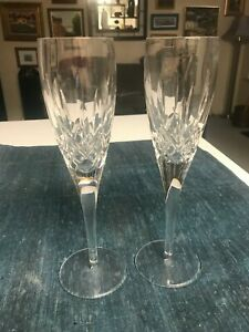 """SET of 2 Waterford 9 1/4"""" LISMORE NOUVEAU CRYSTAL CHAMPAGNE FLUTES Glasses MINT"""