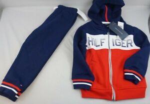 TOMMY HILFIGER BOYS 2T  Red/White/Navy 2 Pc Sweatshirt Hoodie Pant Set NWTags