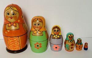 "USSR 6pc MATRYOSHKA NESTING DOLL hand painted Babushka vintage 5.5"""