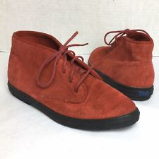 Vtg Keds Chukka Ankle Boot Booties Hi Top Sneakers Red Suede Leather Sz 5.5