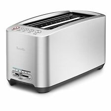 Smart Toaster 4 Slice Die Cast Long Slot Silver Stainless Steel Housing Nonstick