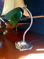 Art Deco 1930s Swan Neck Table/Desk Lamp - Patina Chrome  - Period Glass Shade