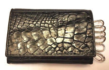 GENUINE CROCODILE ALLIGATOR SKIN LEATHER KEY CHAINS KEY RINGS MEN'S BLACK WALLET