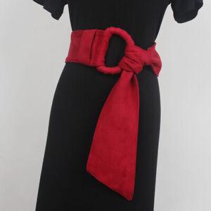 Ladies Faux Suede Wide Belt Corset for Dress Blouse Shirt Obi Waistband Retro