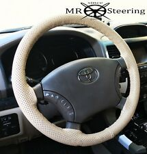 FOR TOYOTA HILUX 7 2005-2011 BEIGE PERFORATED REAL LEATHER STEERING WHEEL COVER