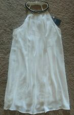 VERY J Dress RHINESTONES Off White S Sleeveless FULLY LINED Gold Chain Mid-Thigh