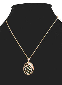 "Swarovski Precisely Spider Web Pendant Rose Gold 17 1/2"" Chain #5488405 NEW"