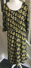 Seasalt UK Size 14 Blue & Yellow Floral Jersey Jess Dress Spring Organic Cotton