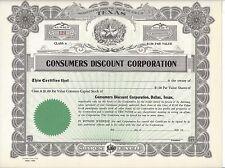 CONSUMERS DISCOUNT CORPORATION.(DALLAS,TEXAS)...UNISSUED STOCK CERTIFICATE