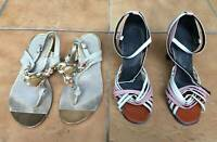 Ladys nude leather suede sandals flats retro pink dance heels Worn Used Preloved