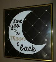 """""""Love You to The Moon & Back"""" Framed Bling Poster- 9"""" x 9"""""""