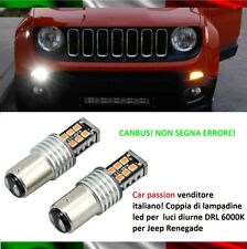 COPPIA LUCI DIURNE DRL 15 LED BAY15D P21/5W JEEP RENEGADE 6000K CANBUS NO ERRORE