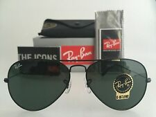 AUTHENTIC RAY-BAN AVIATOR RB3025 L2823 58MM BLACK FRAME GREEN LENS SUNGLASSES