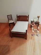 WALNUT DOUBLE BED, TABLE CHAIR AND ACCESSORIES 1/12TH SCALE