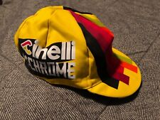 Cinelli Cap Collection:  Cycling Cap Yellow Black Chrome Santini Made in Italy