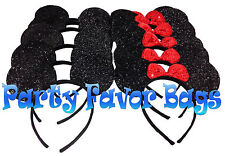 20 Mickey Minnie Mouse Ears Headbands Shiny Black Red Bow Party Favors Birthday